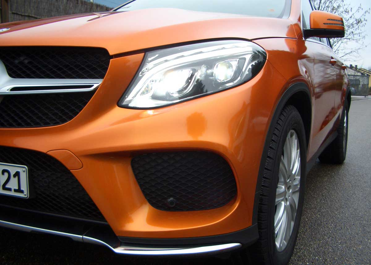 Mercedes GLE in gloss-liquid-copper foliert